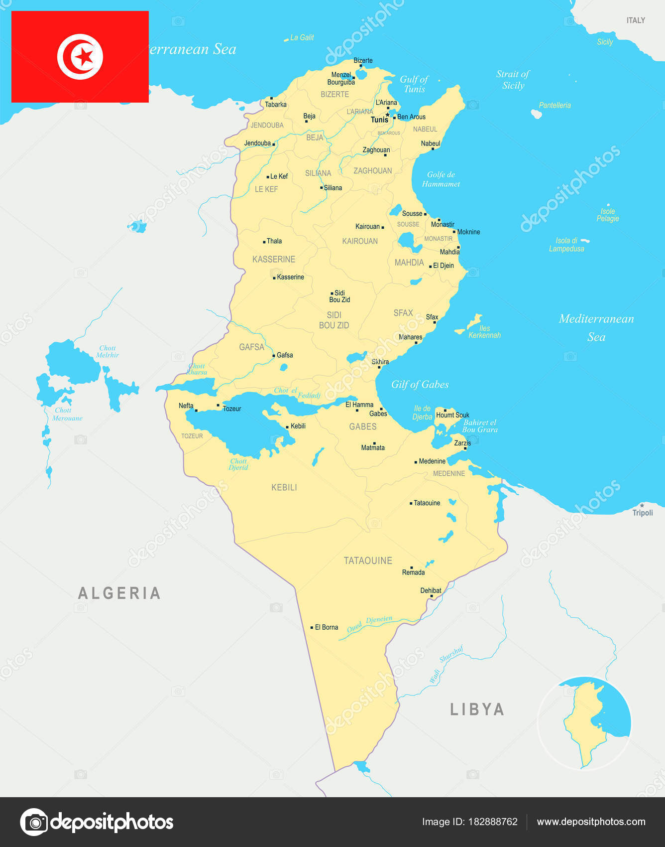 Tunesien Karte.Tunesien Landkarte Detaillierte Vektor Illustration