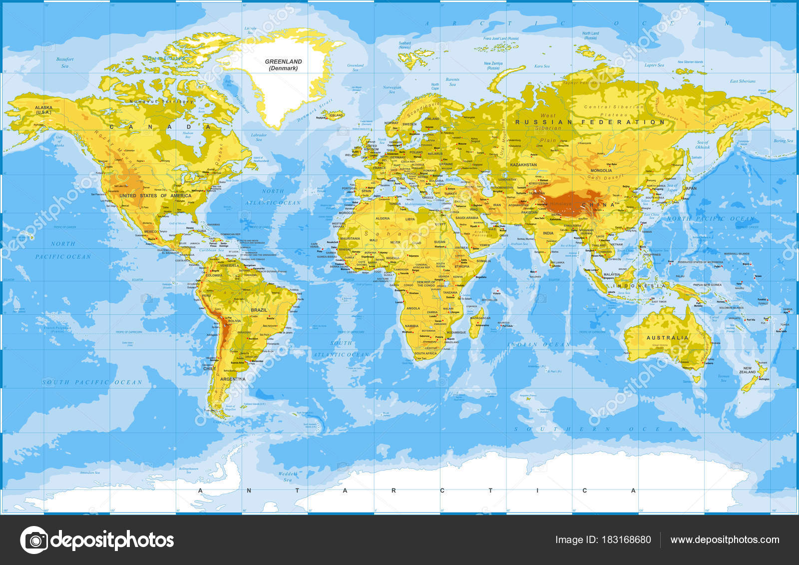 Political physical topographic colored world map vector stock political physical topographic colored world map vector stock vector gumiabroncs Image collections