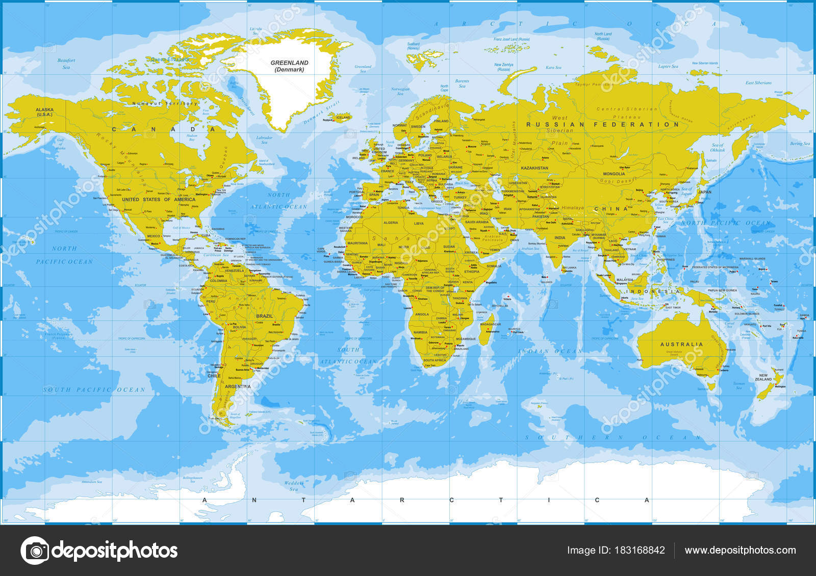 Political physical topographic colored world map vector stock political physical topographic colored world map vector stock vector gumiabroncs Images
