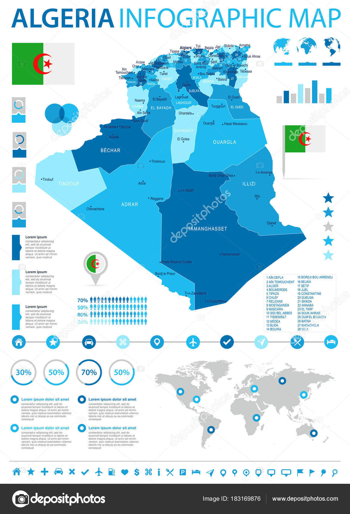 Algeria infographic map and flag Detailed Vector Illustration