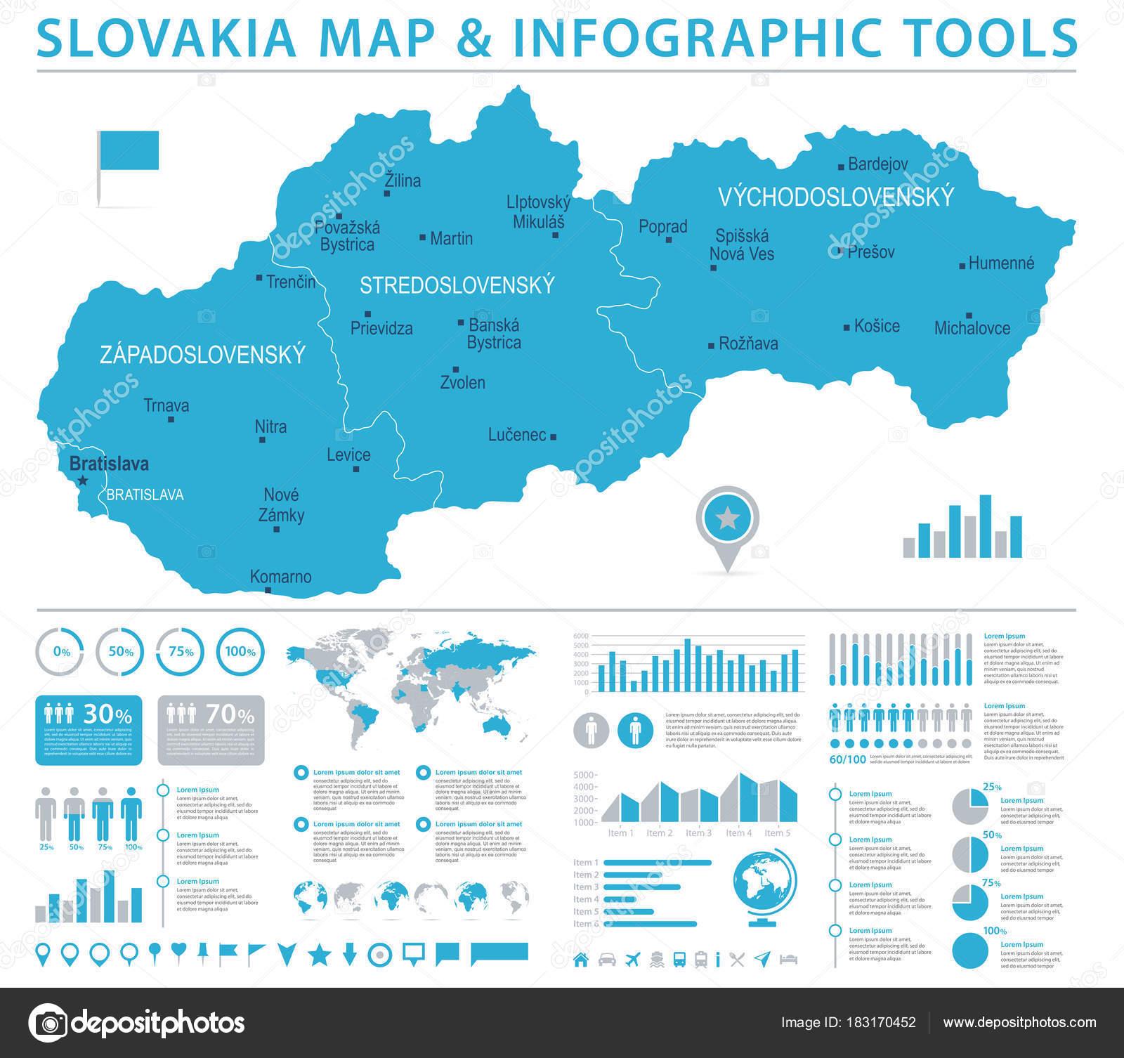 Slovakia Map - Info Graphic Vector Illustration — Stock Vector ...