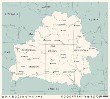 Belarus Map - Vintage Detailed Vector Illustration