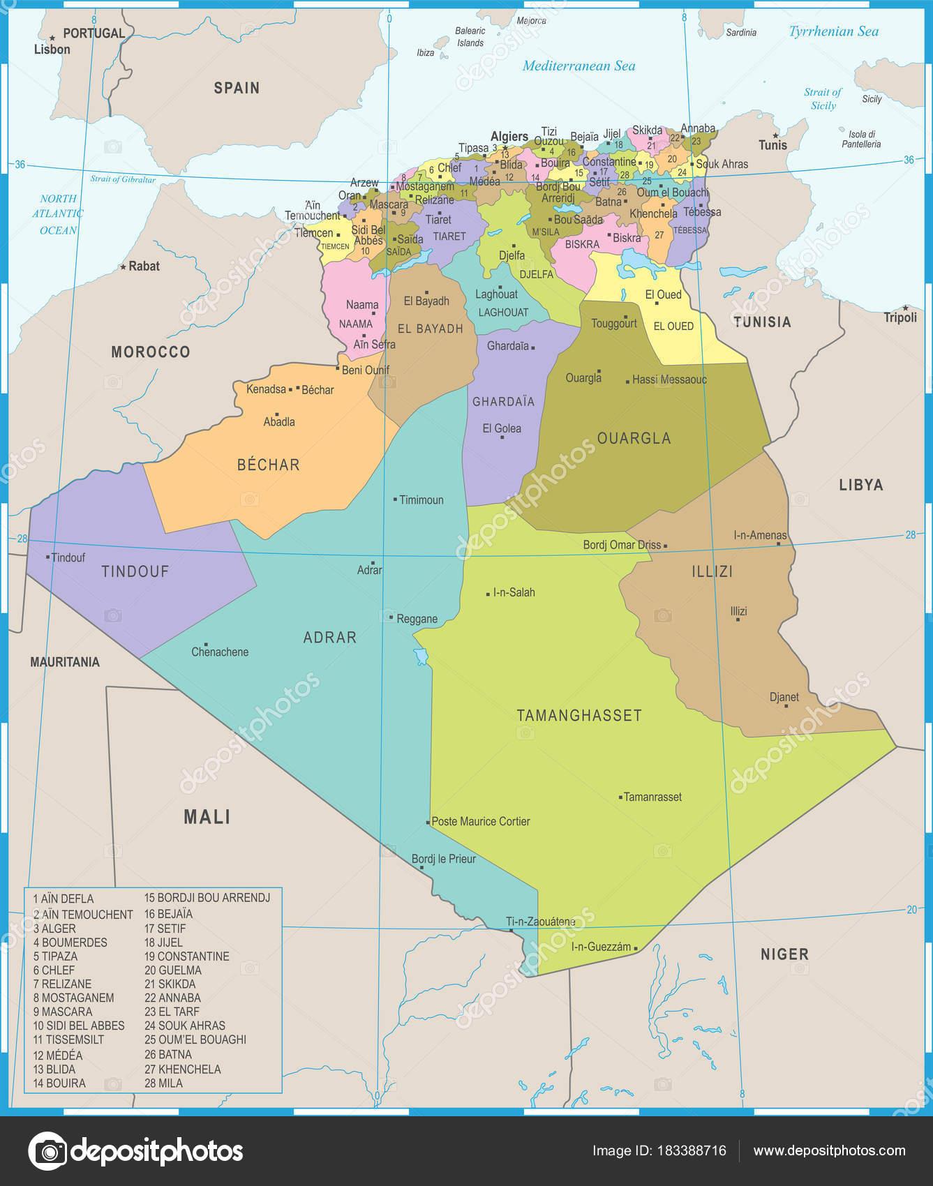 algéria térkép Algéria Térkép   részletes vektoros illusztráció — Stock Vektor