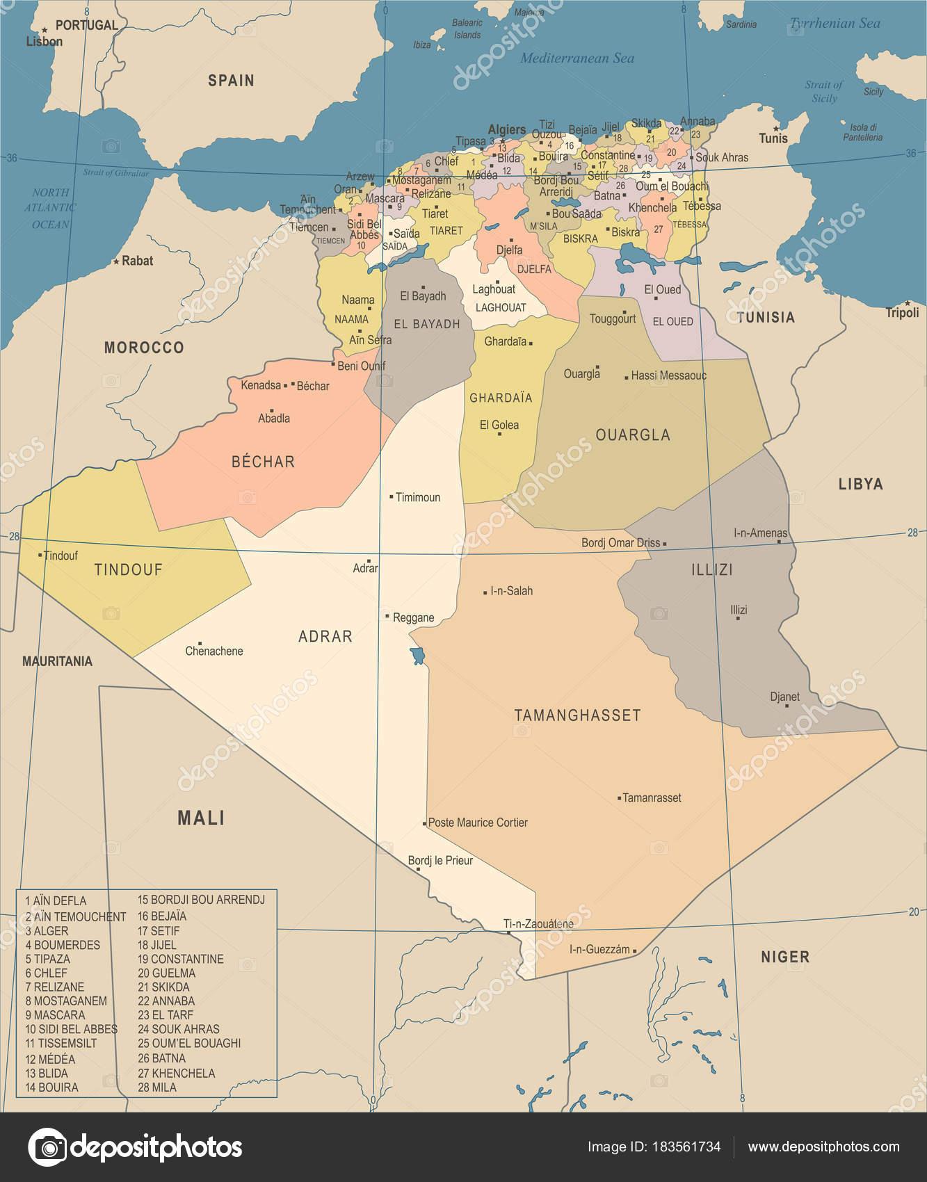 Carte Algerie Tipaza.Carte De L Algerie Illustration Vectorielle Detaillee Vintage