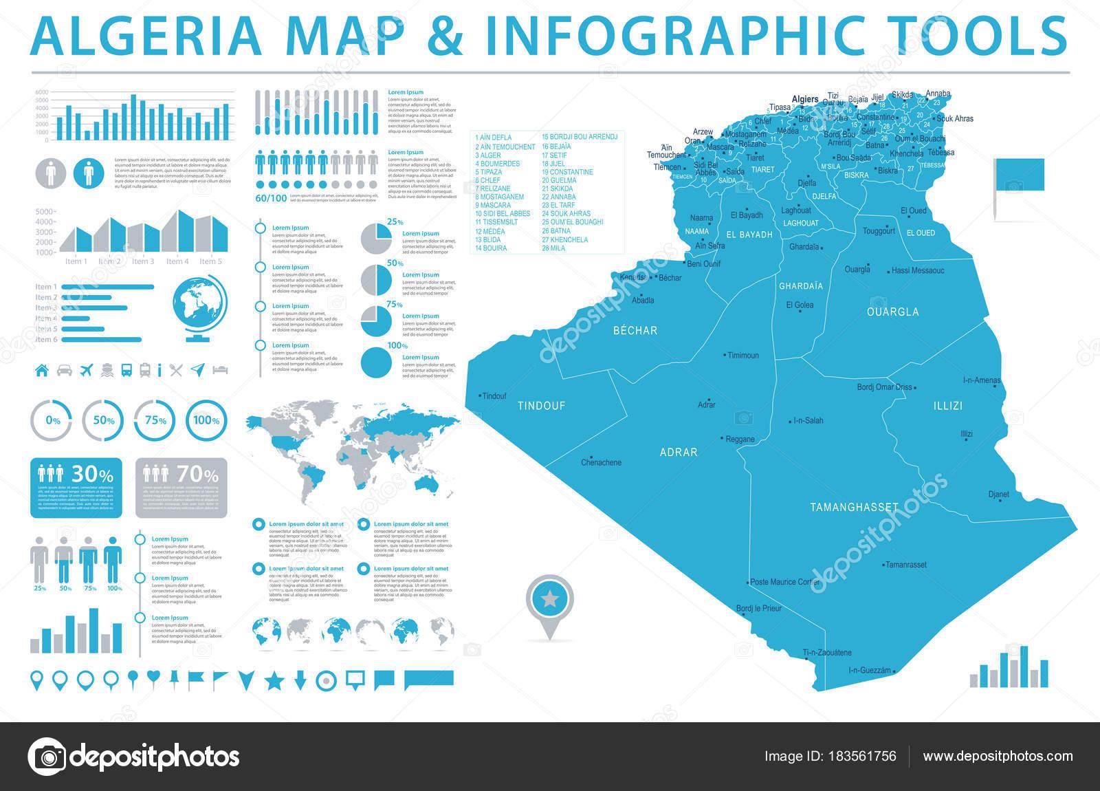 Algeria map info graphic vector illustration stock vector algeria map detailed info graphic vector illustration vector by dikobrazik biocorpaavc Images