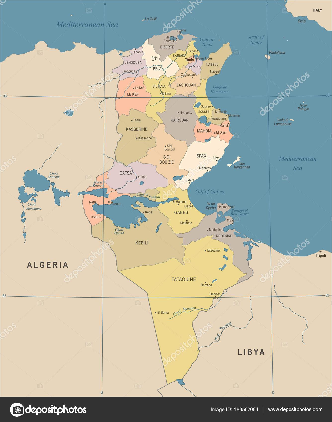 tunézia térkép Tunézia Térkép   Vintage részletes vektoros illusztráció — Stock