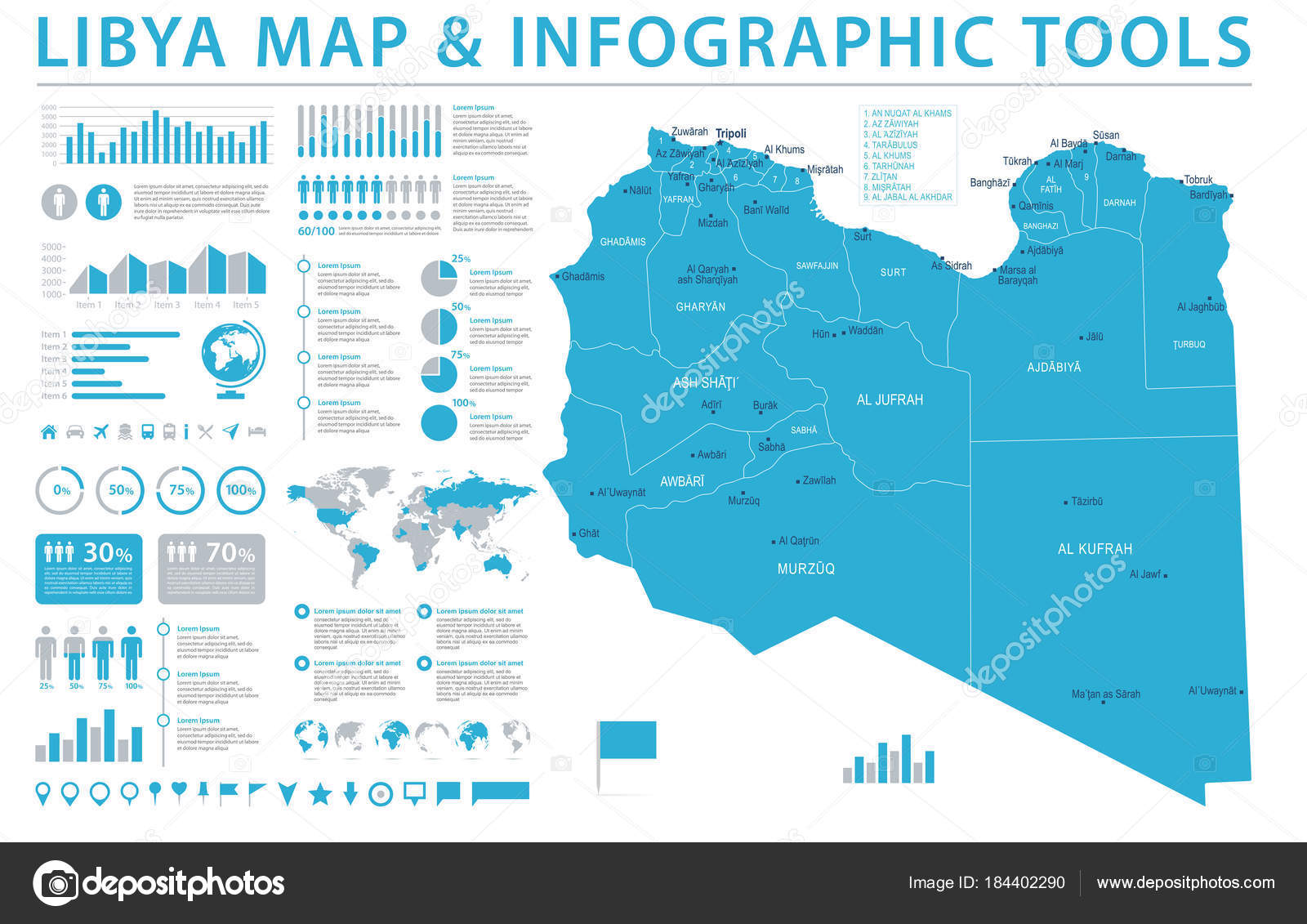 Libya Map Info Graphic Vector Illustration Stock Vector