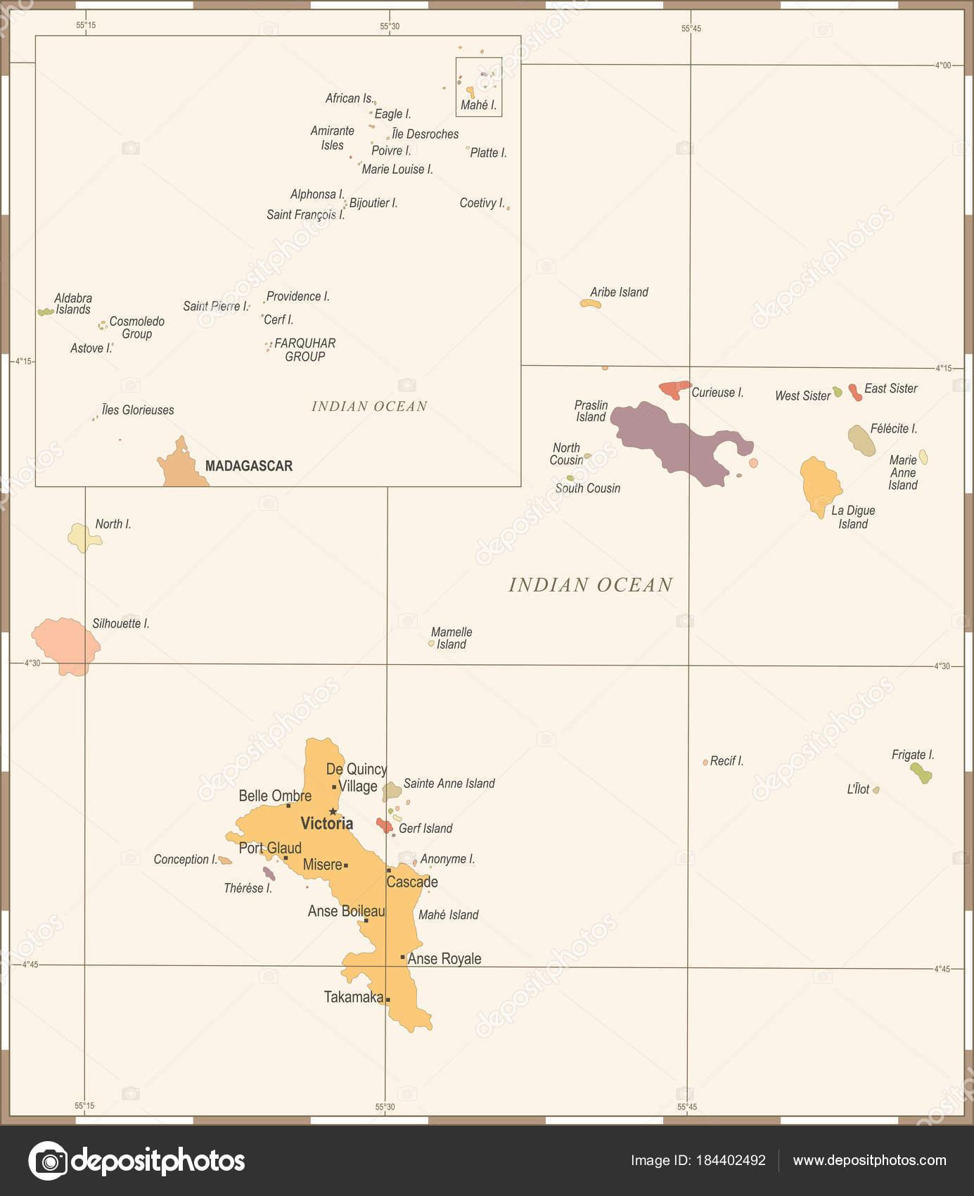 Seszele Mapa Rocznika Szczegolowe Wektor Ilustracja Grafika