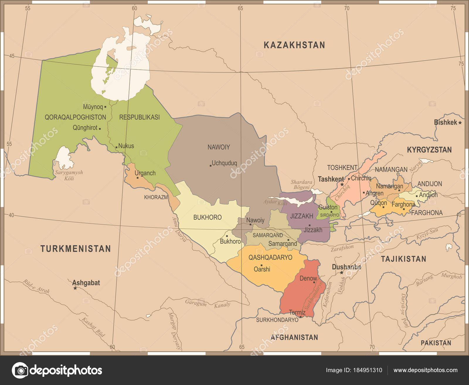 Usbekistan Karte.Usbekistan Karte Vintage Detaillierte Vektor Illustration