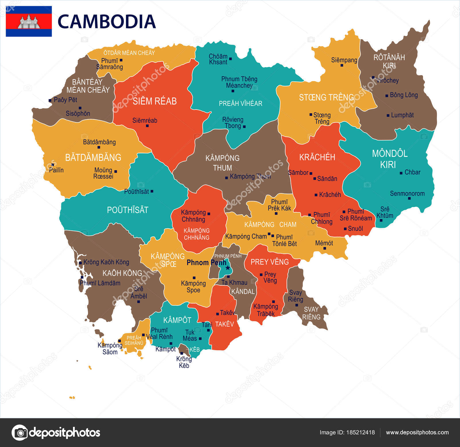 Kambodscha Karte.Kambodscha Karte Und Flagge Detaillierte Vektor
