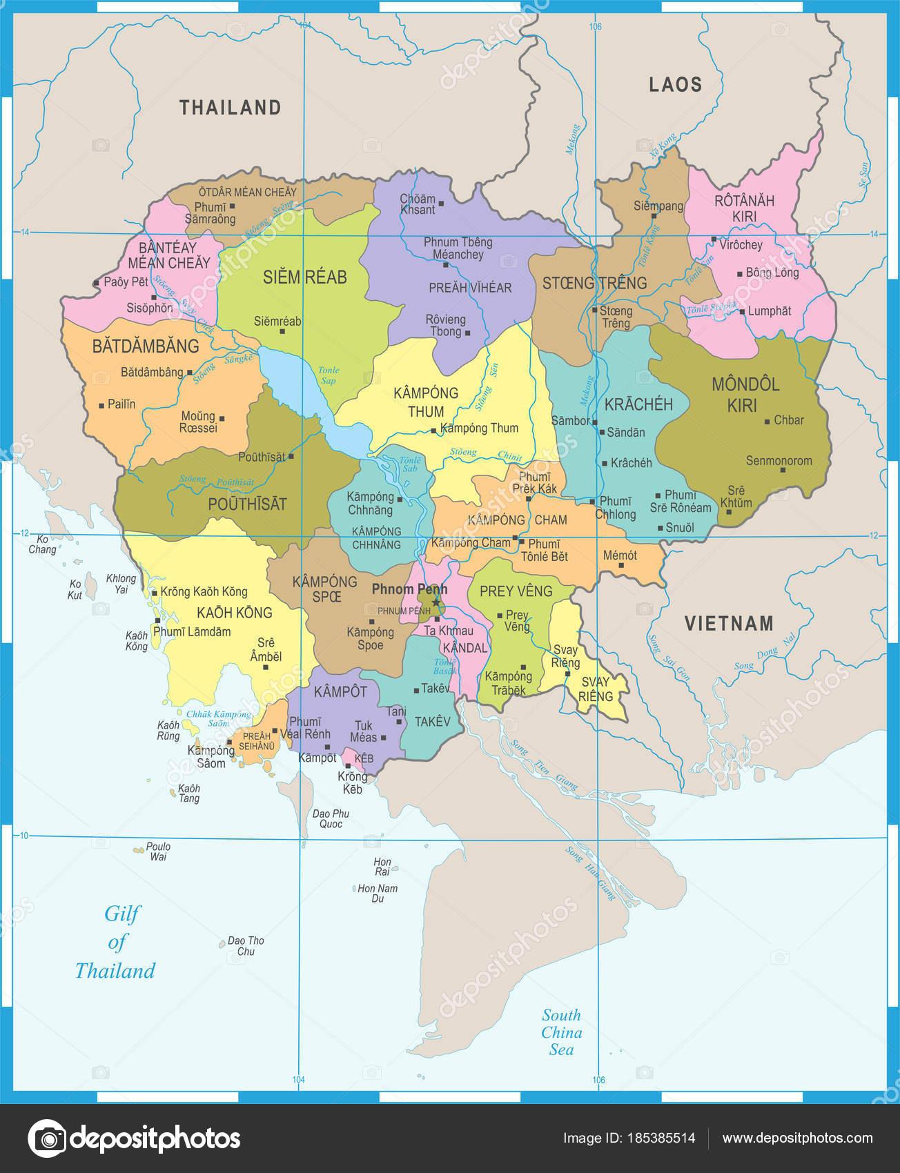 Kambodscha Karte.Kambodscha Karte Detaillierte Vektor Illustration