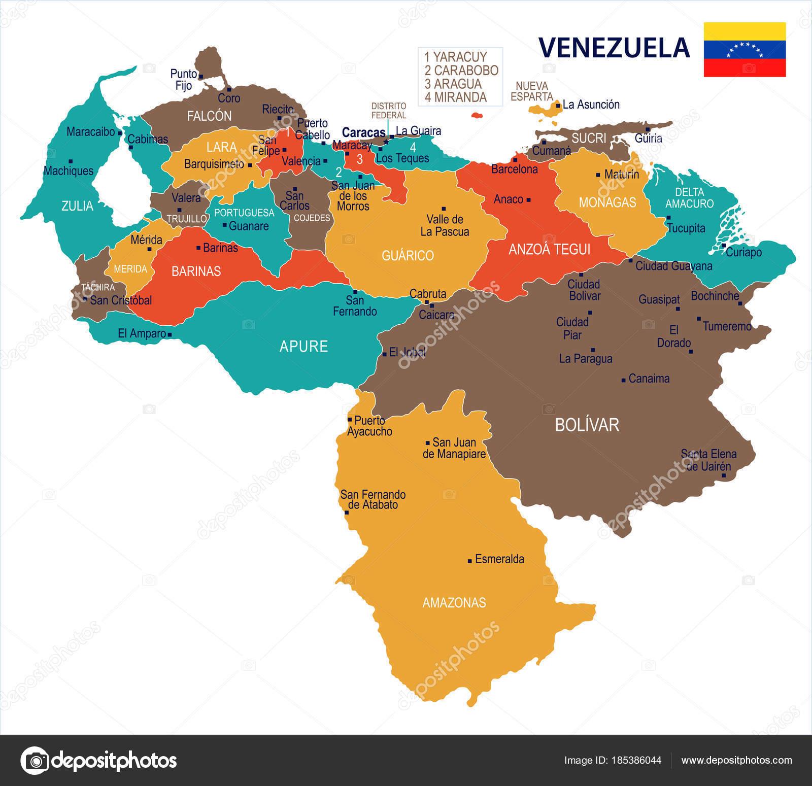 Venezuela - map and flag Detailed Vector Illustration — Stock Vector ...