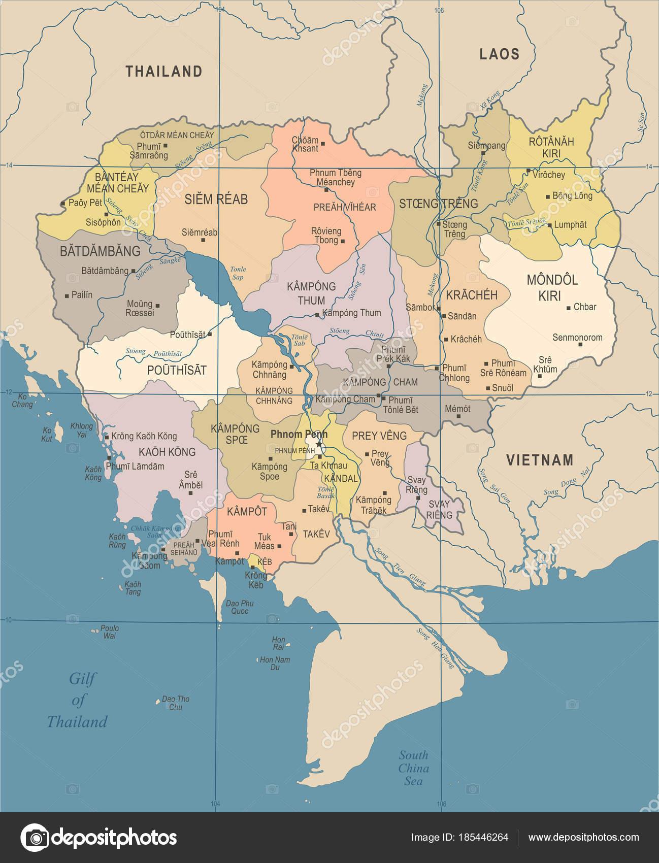 Kambodscha Karte.Kambodscha Karte Vintage Detaillierte Vektor Illustration