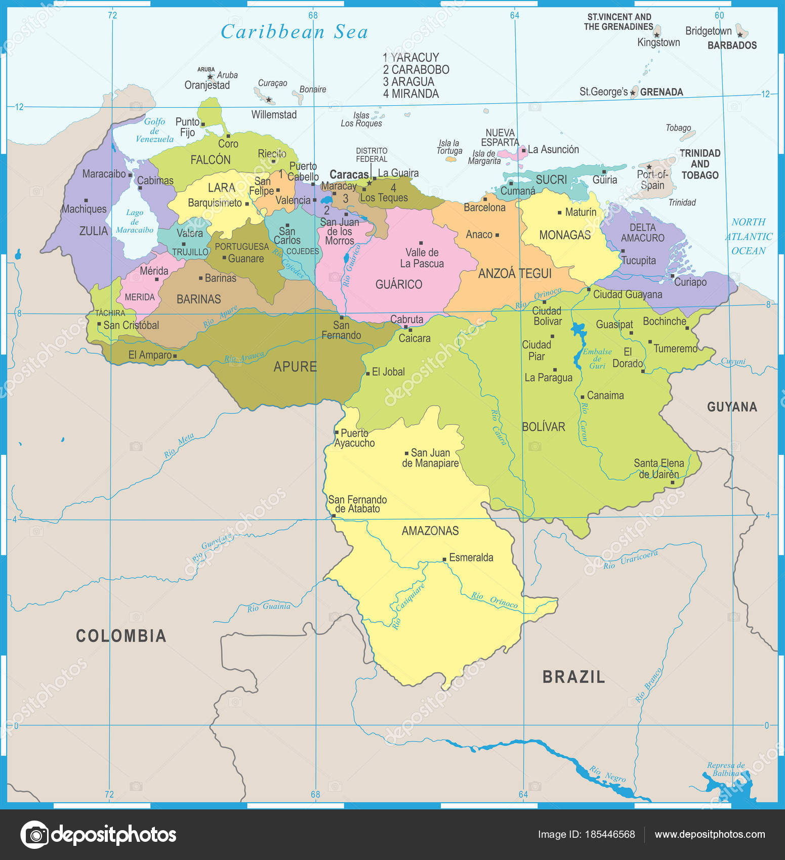 Venezuela map detailed vector illustration stock vector venezuela map detailed vector illustration stock vector sciox Images
