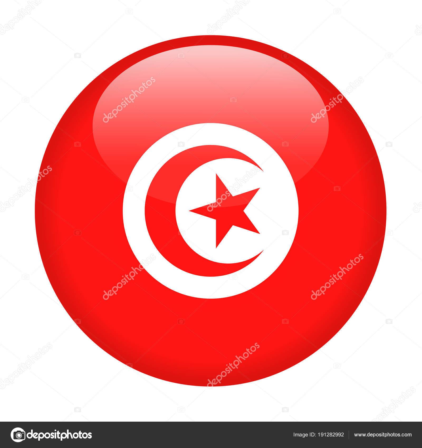 Drapeau Rond drapeau tunisie vector icon rond — image vectorielle dikobrazik