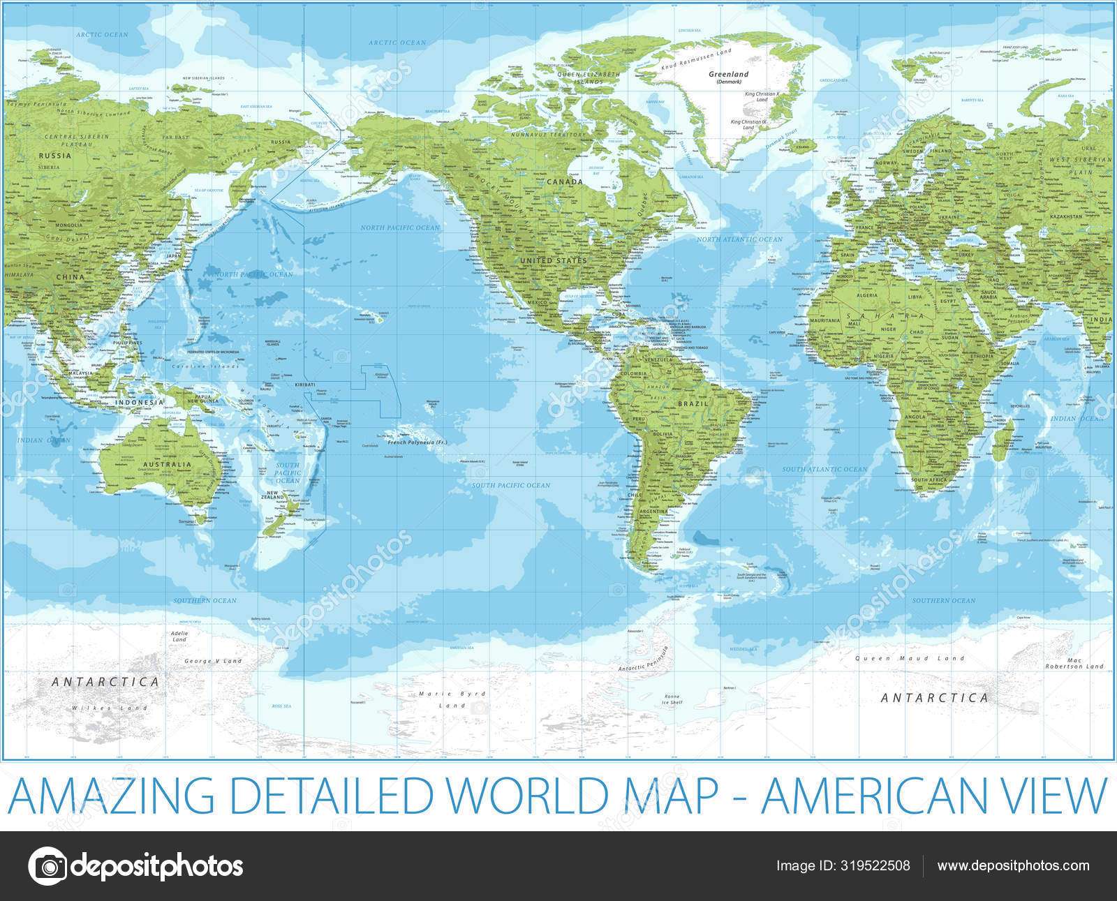 Picture of: World Map American View Relief Physical Topographic Vector Detailed Illustration America In Center Stock Vector C Dikobrazik 319522508