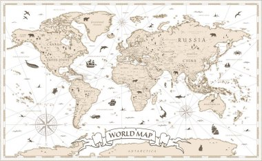 World Map Vintage Cartoon Detailed - vector with layers