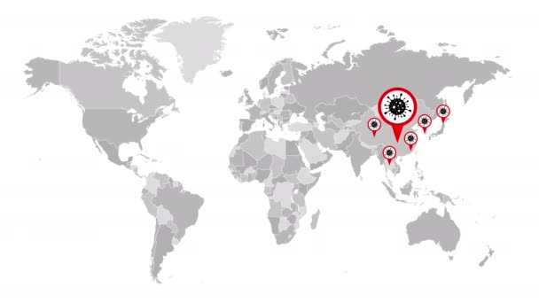 Coronavirus COVID-19 Map Spreading. Pandemic World Map. Virus Infection. Animation. 4K Resolution