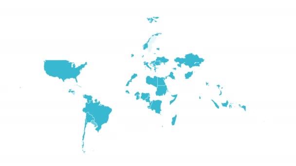 Světová mapa. Animace tvaru. Pohybová grafika. Video - rozlišení 4K