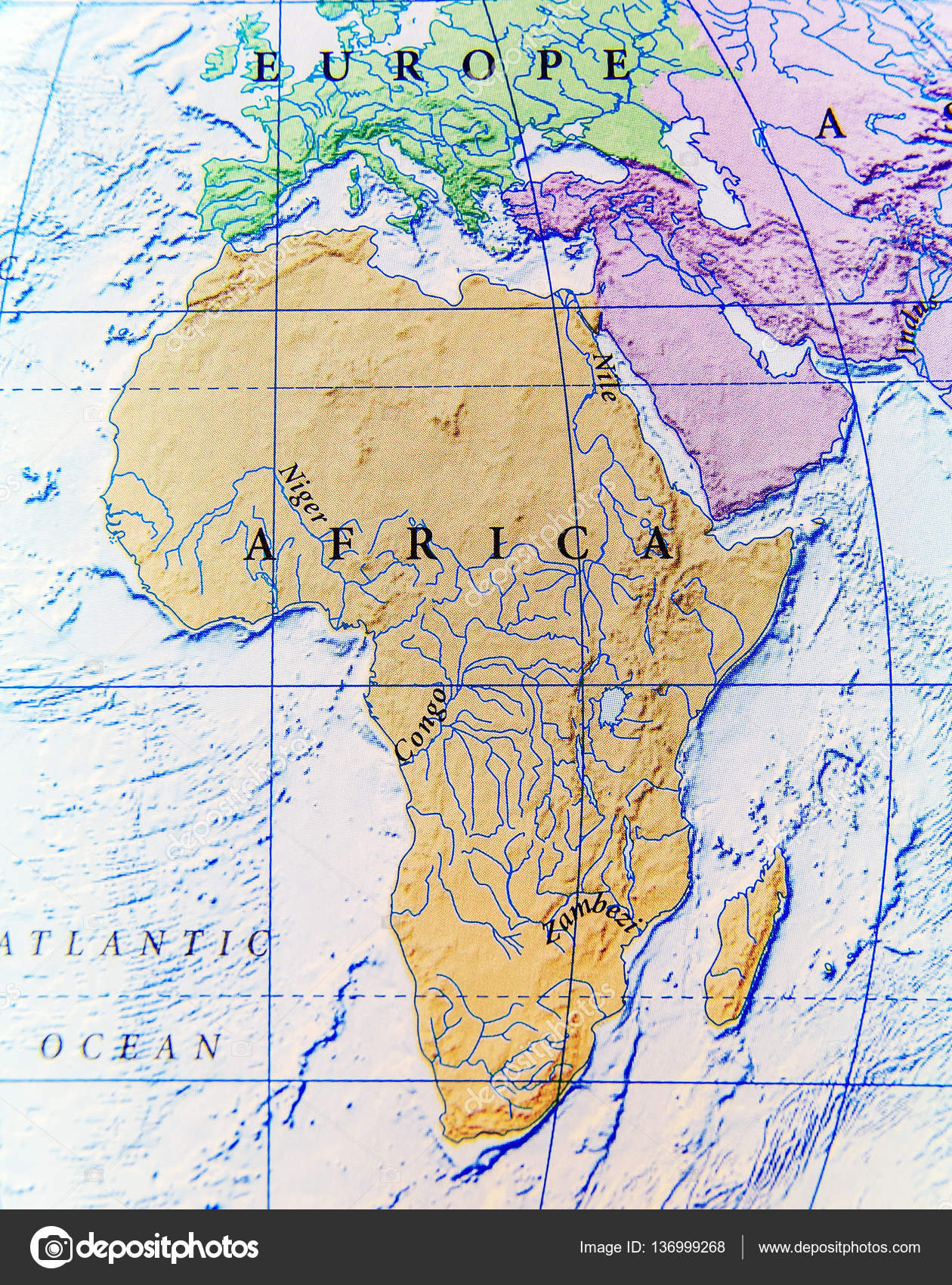 Geographic Map Of Africa Close Stock Photo C Bennian 136999268