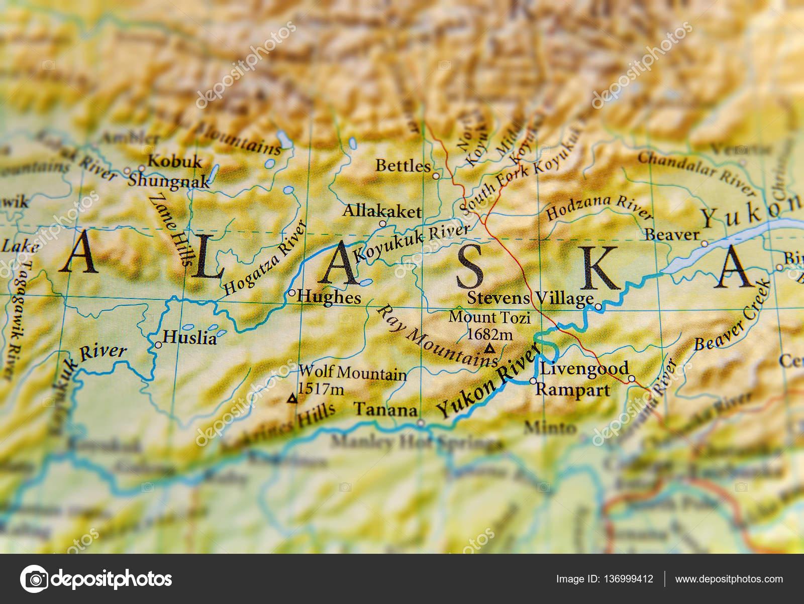 Geographic Map Of Alaska State Close Stock Photo C Bennian 136999412