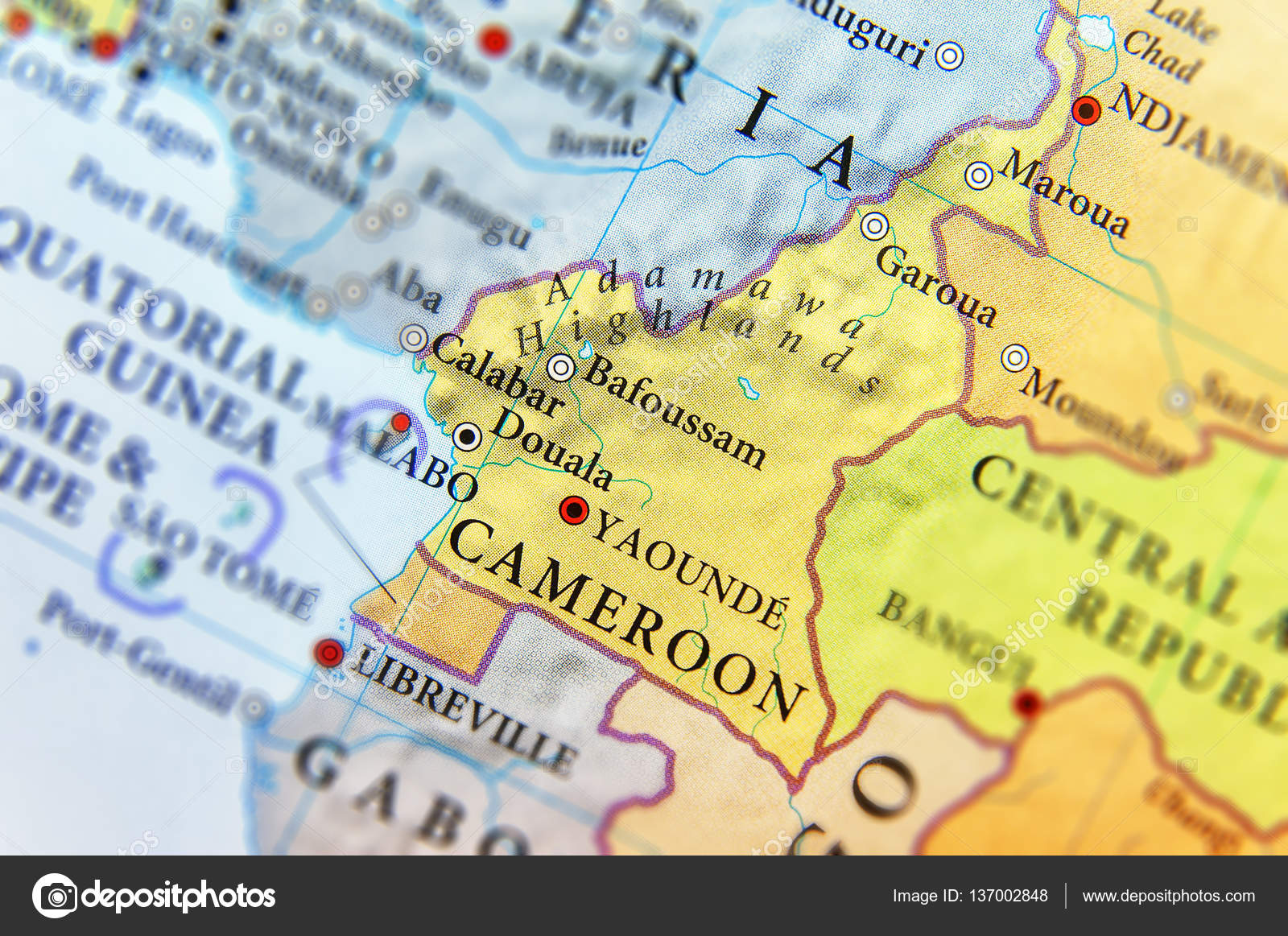 Geographic map of Cameroon country with important cities Stock