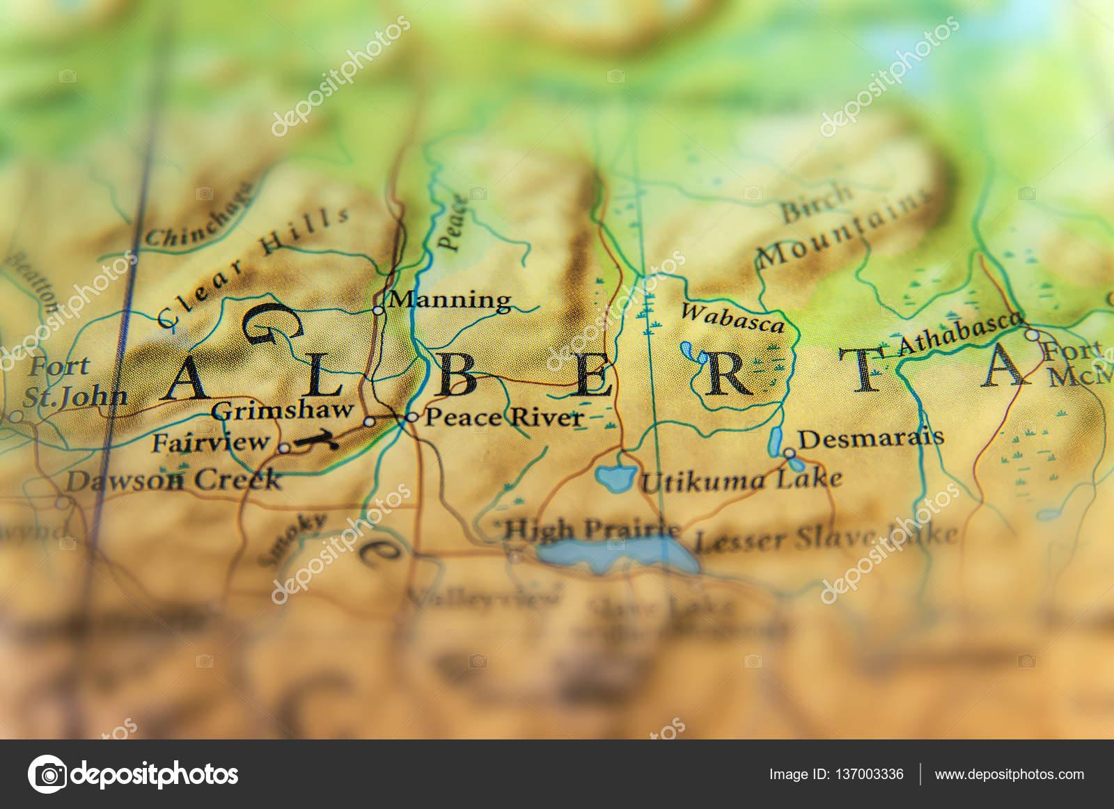 Cartina Geografica Del Canada Alberta Stato Con Importanti Città