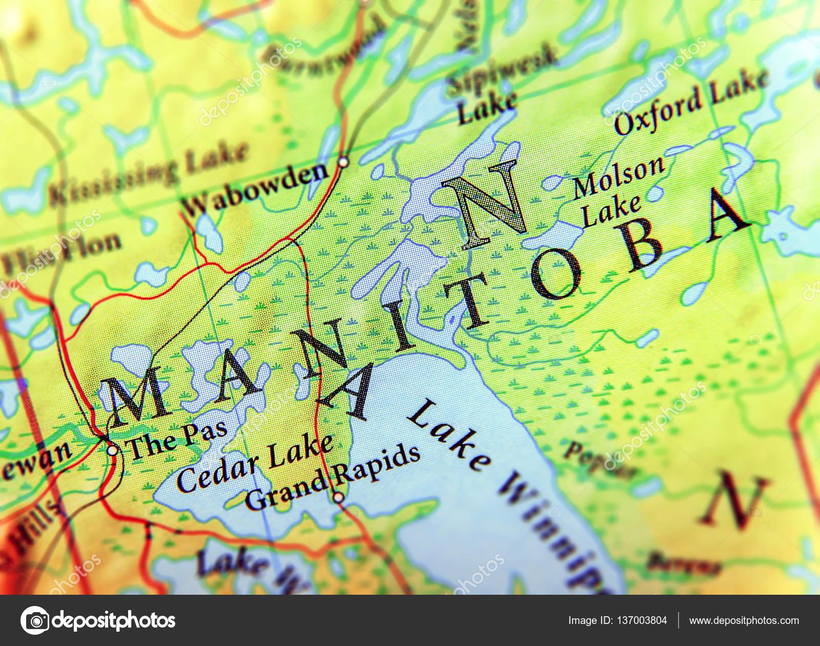 Cartina Geografica Del Canada Stato Manitoba Con Importanti Città