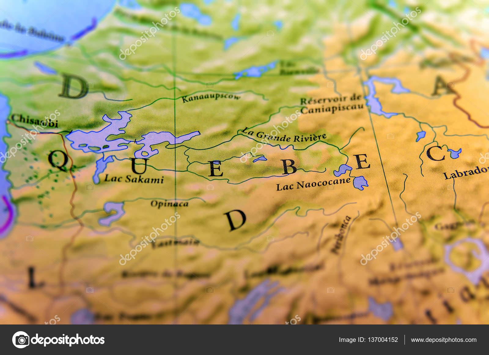 Cartina Geografica Del Canada Stato Quebec Con Importanti Città