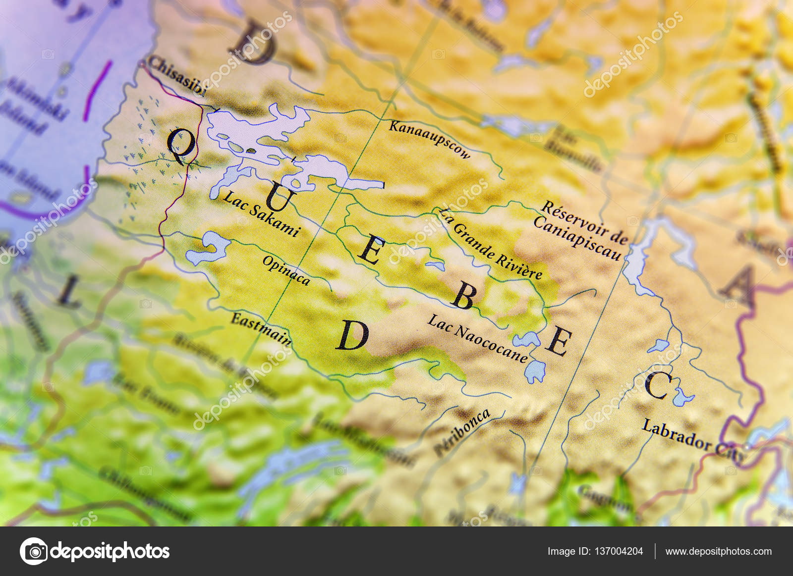Geographic Map Of Canada State Quebec With Important Cities - Quebec map with cities