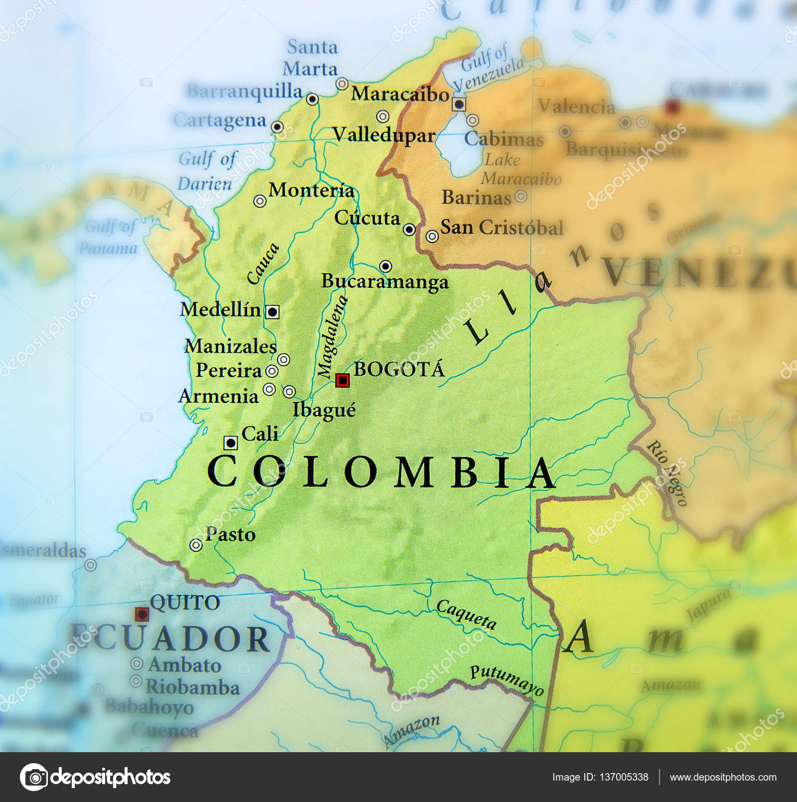 Geographic map of Columbia countries with important cities Stock