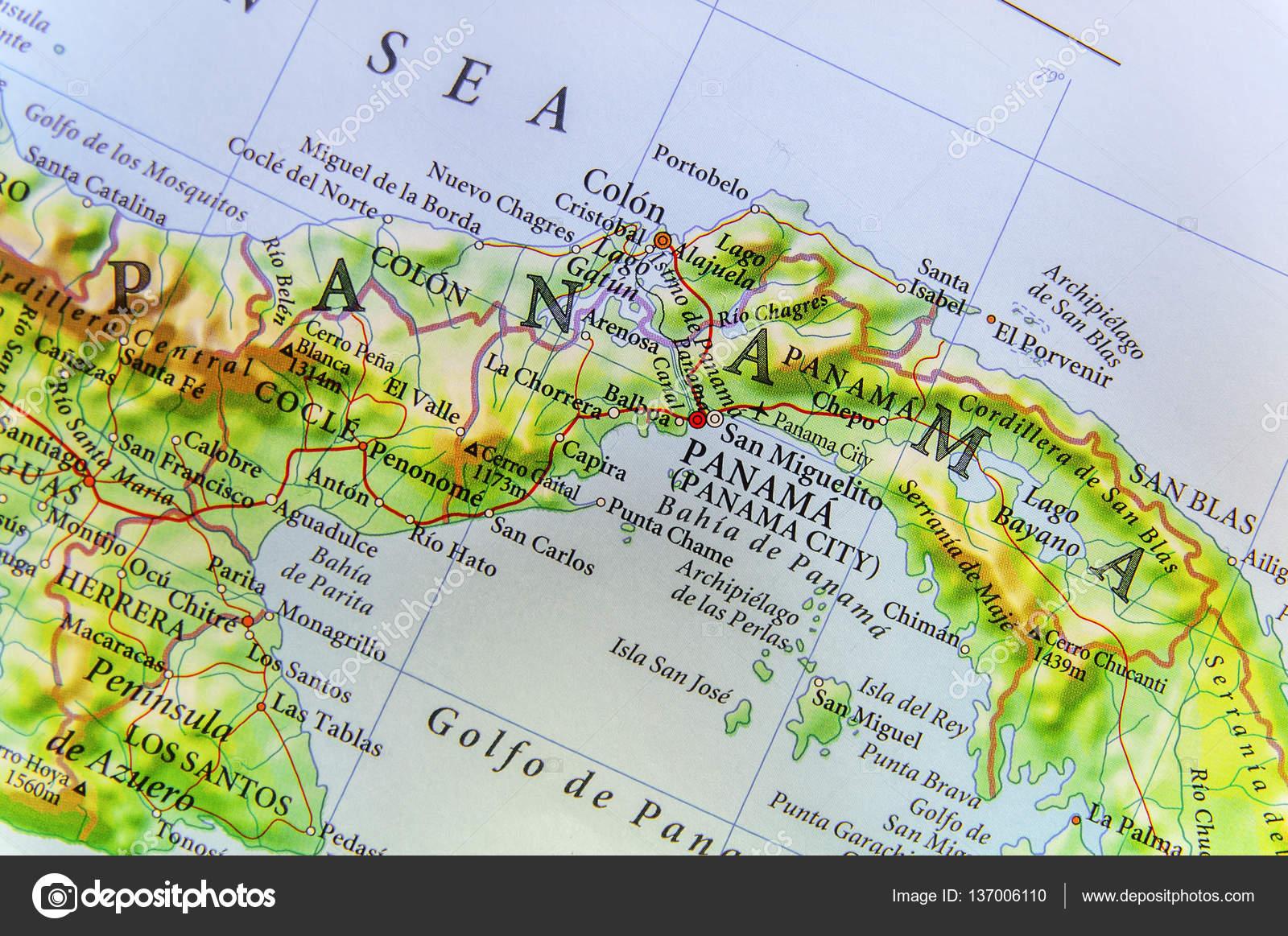 Landkarte des Landes Panama und Panama city — Stockfoto ...
