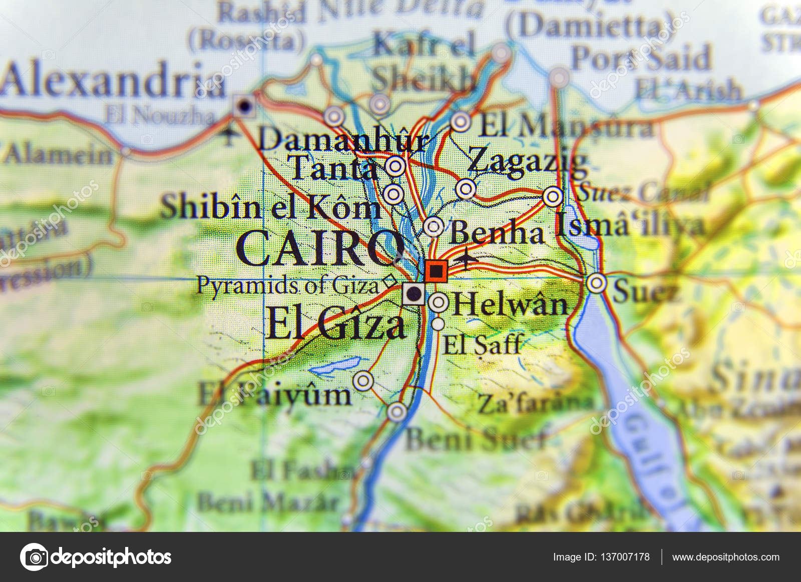Geographic Map Of Egypt With Capital City Cairo Stock Photo - Map of egypt with capital
