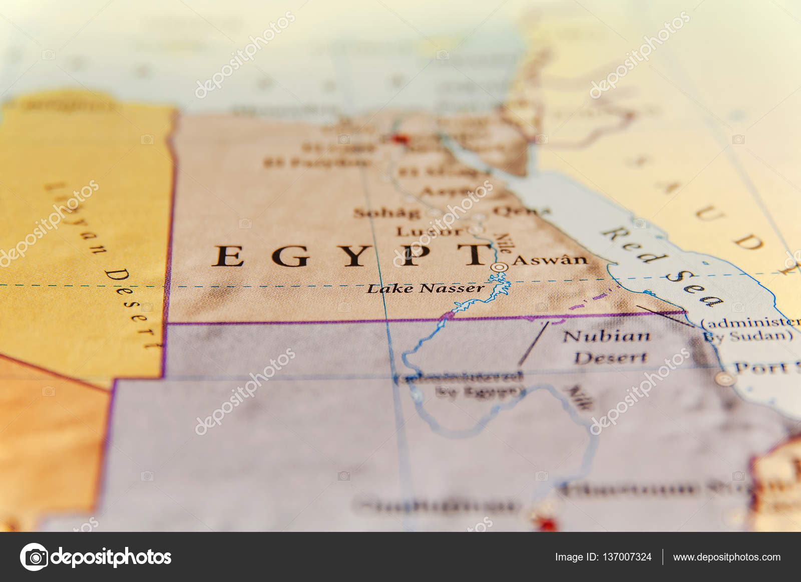 Geographic map of Egypt with important cities — Stock Photo ...