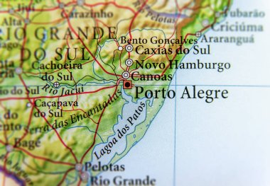 Geographic map of Brasil with Porto Alegre city