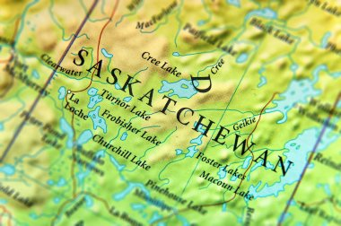 Geographic map of Canada state Saskatchewan with important cities