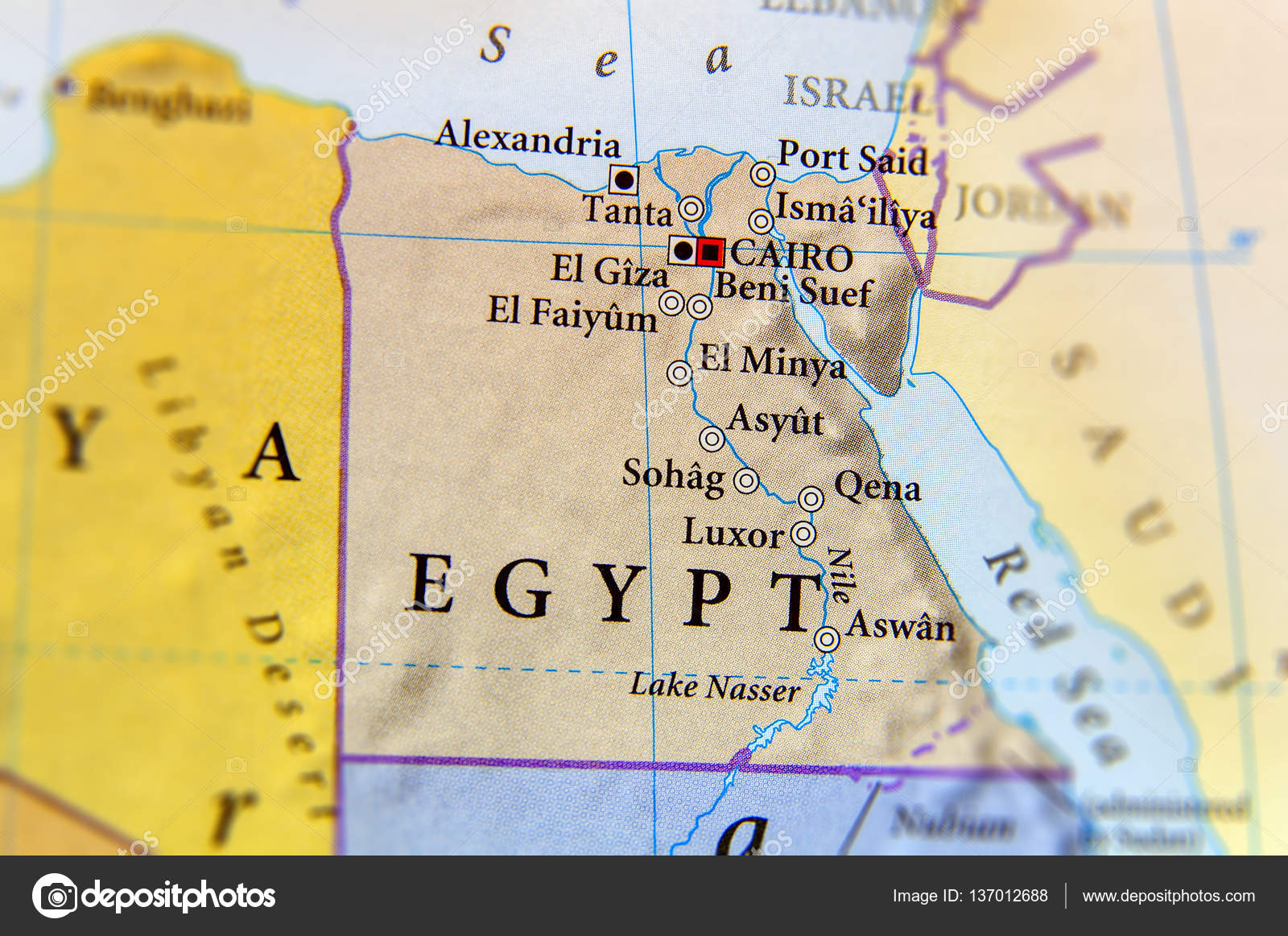 Cartina Egitto.Geographic Map Of Egypt With Important Cities Stock Photo