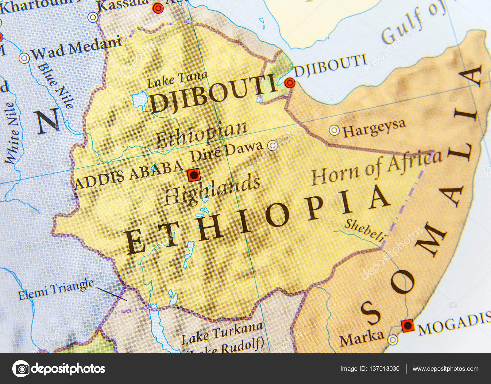 Geographic map of Ethiopia with important cities Stock Photo