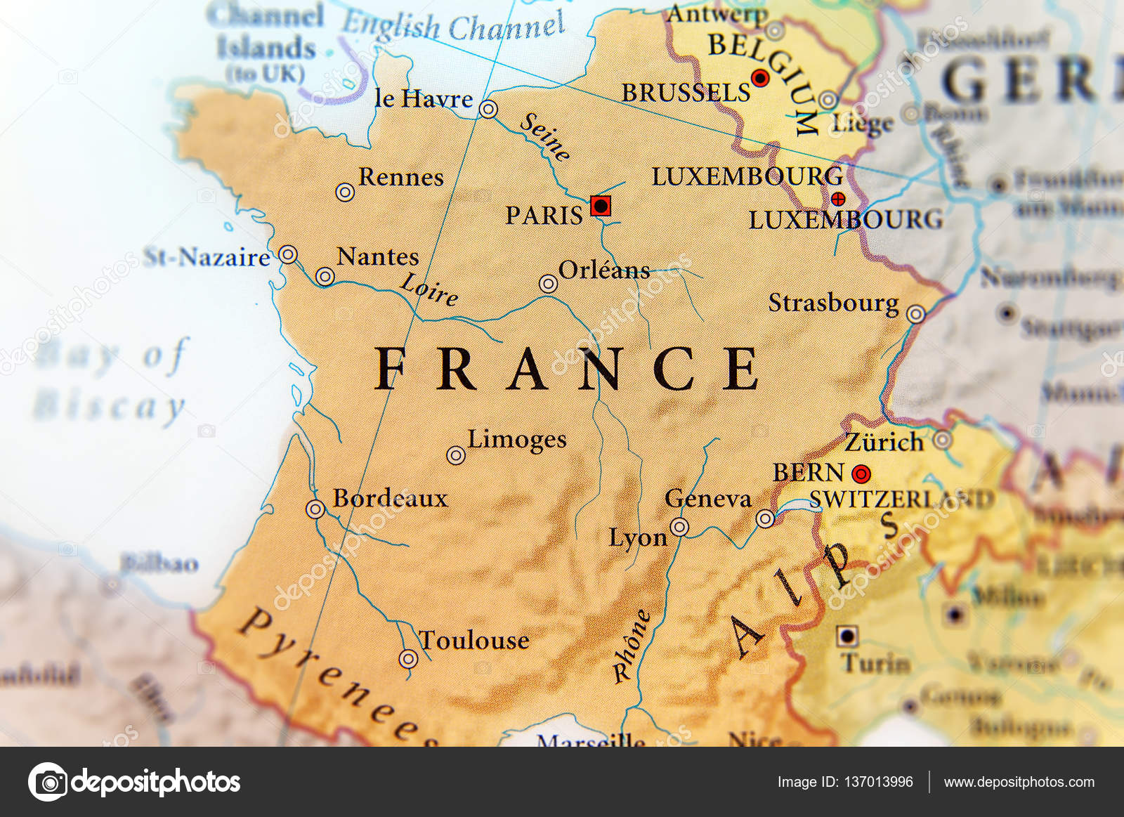 Country Map Of France.Geographic Map Of European Country France With Important Cities