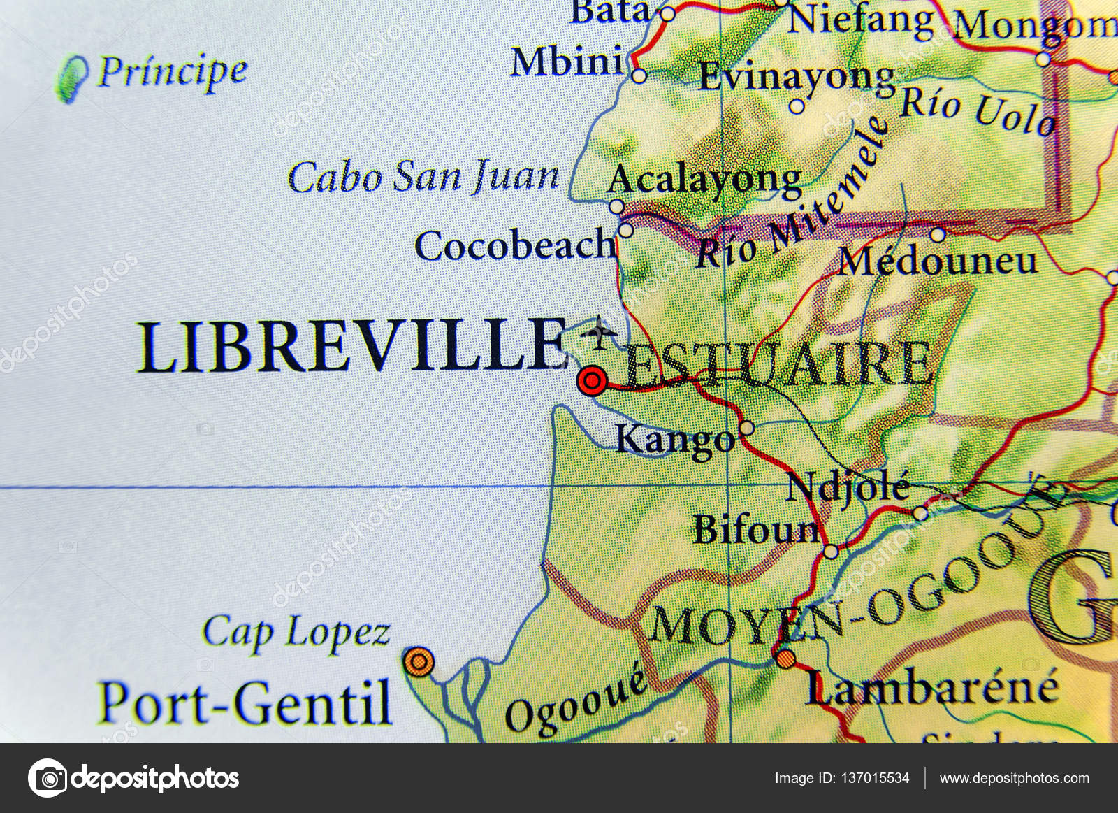 Geographic map of Gabon with capital city Libreville Stock Photo