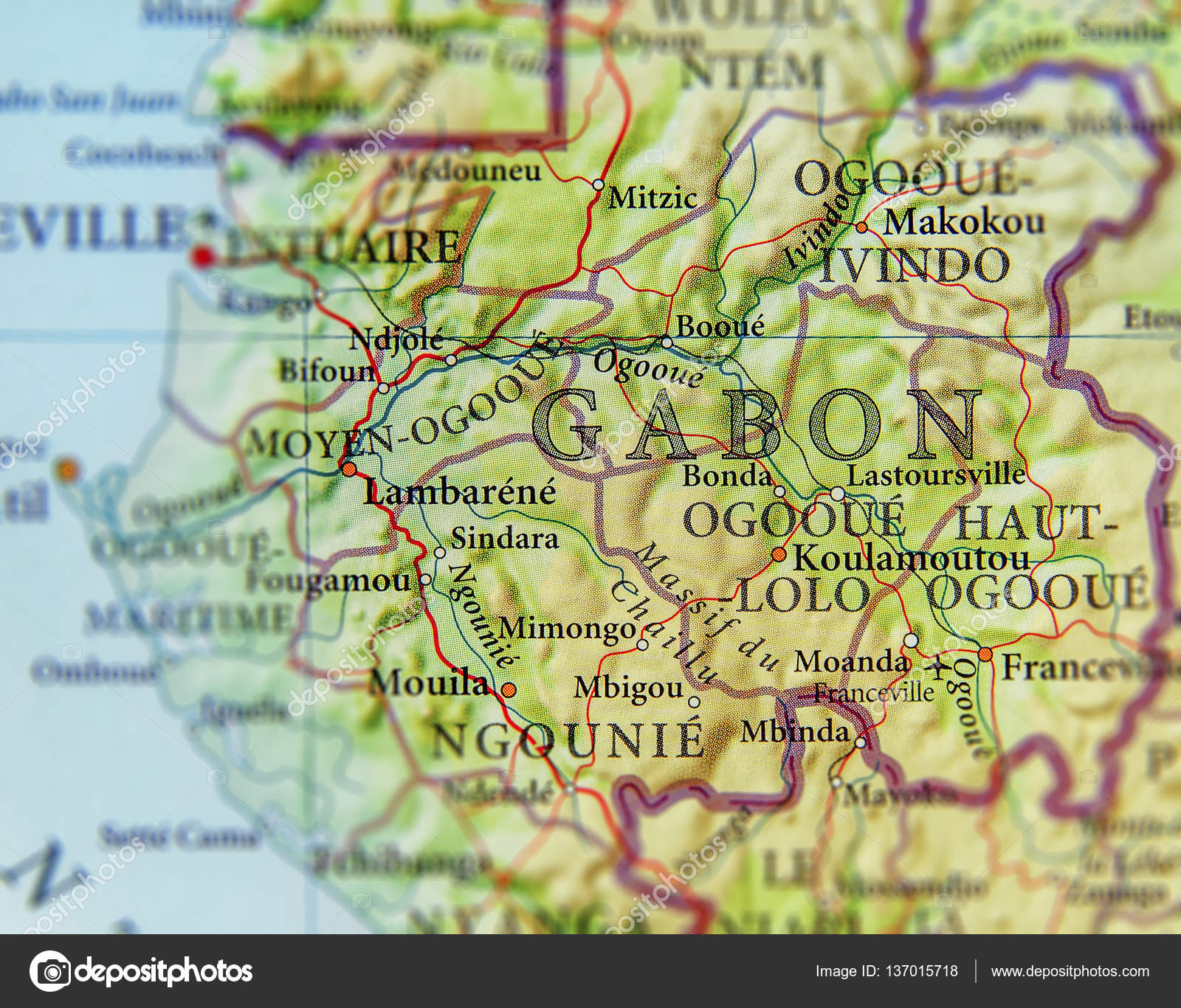 Geographic map of Gabon with important cities Stock Photo