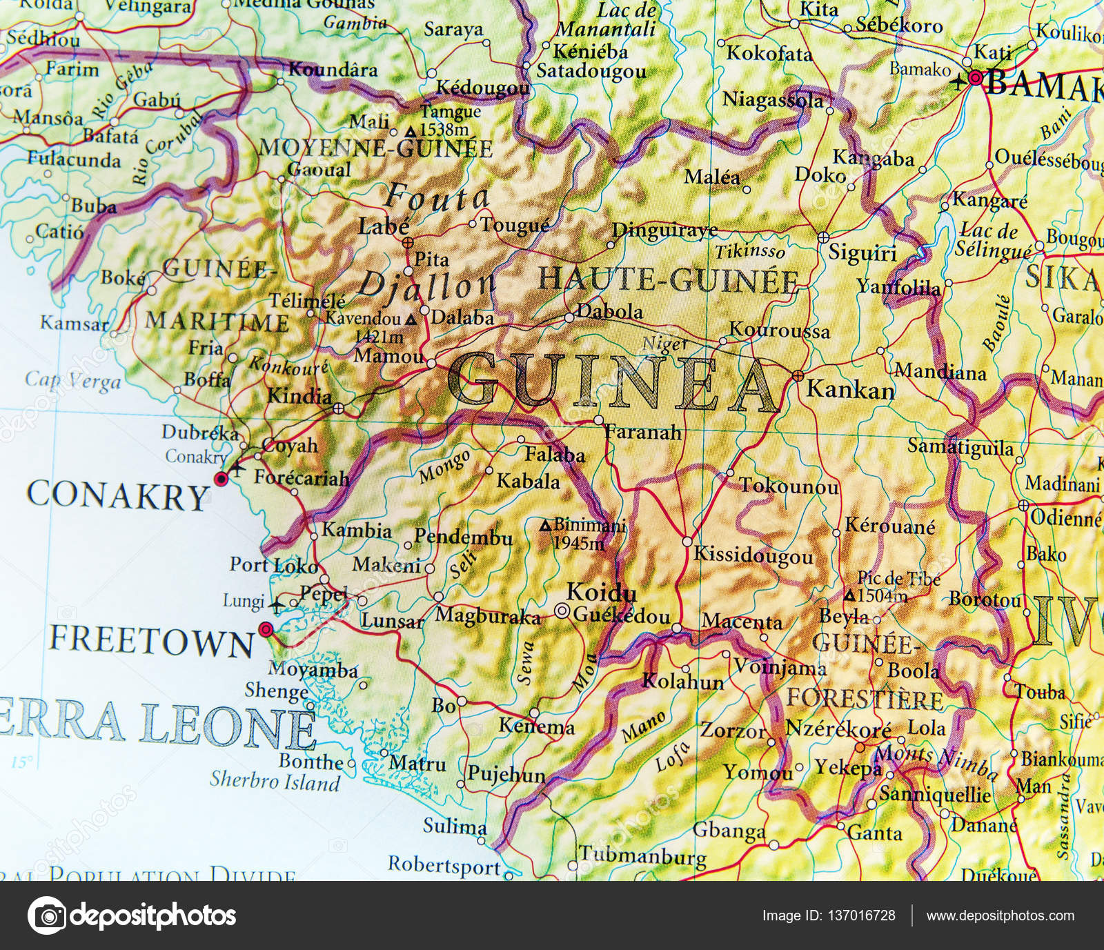 Guinea Cartina Geografica.Geographic Map Of Guinea With Important Cities Stock Photo Image By C Bennian 137016728