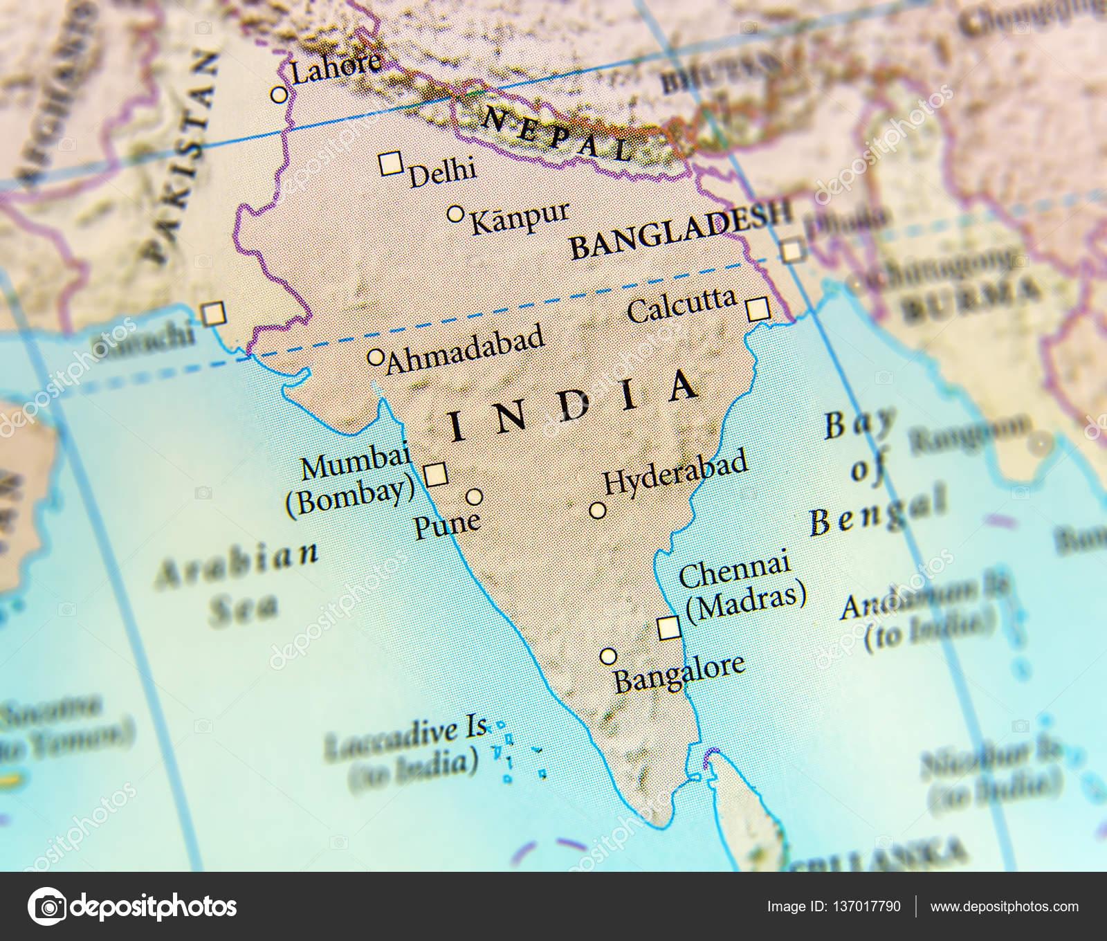 Carte Geographique Indien.Carte Geographique Des Pays De L Inde Avec Des Villes