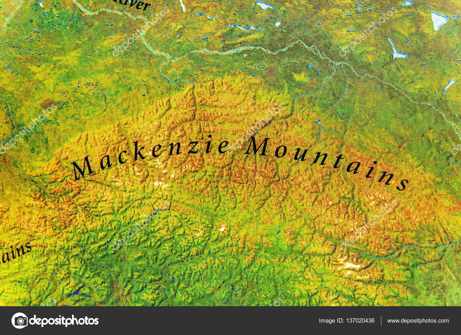 Geographic Map Of Mackenzie Mountains In Canada Country Stock - Mountains in canada map