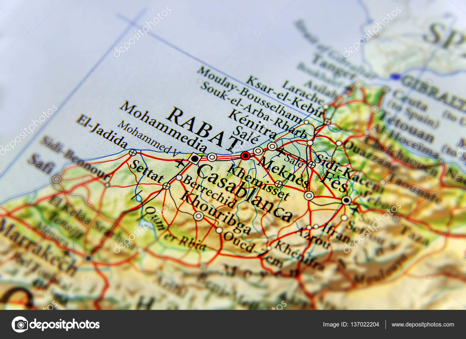 Marocco Cartina.Geographic Map Of Morocco With Capital City Rabat Stock Photo