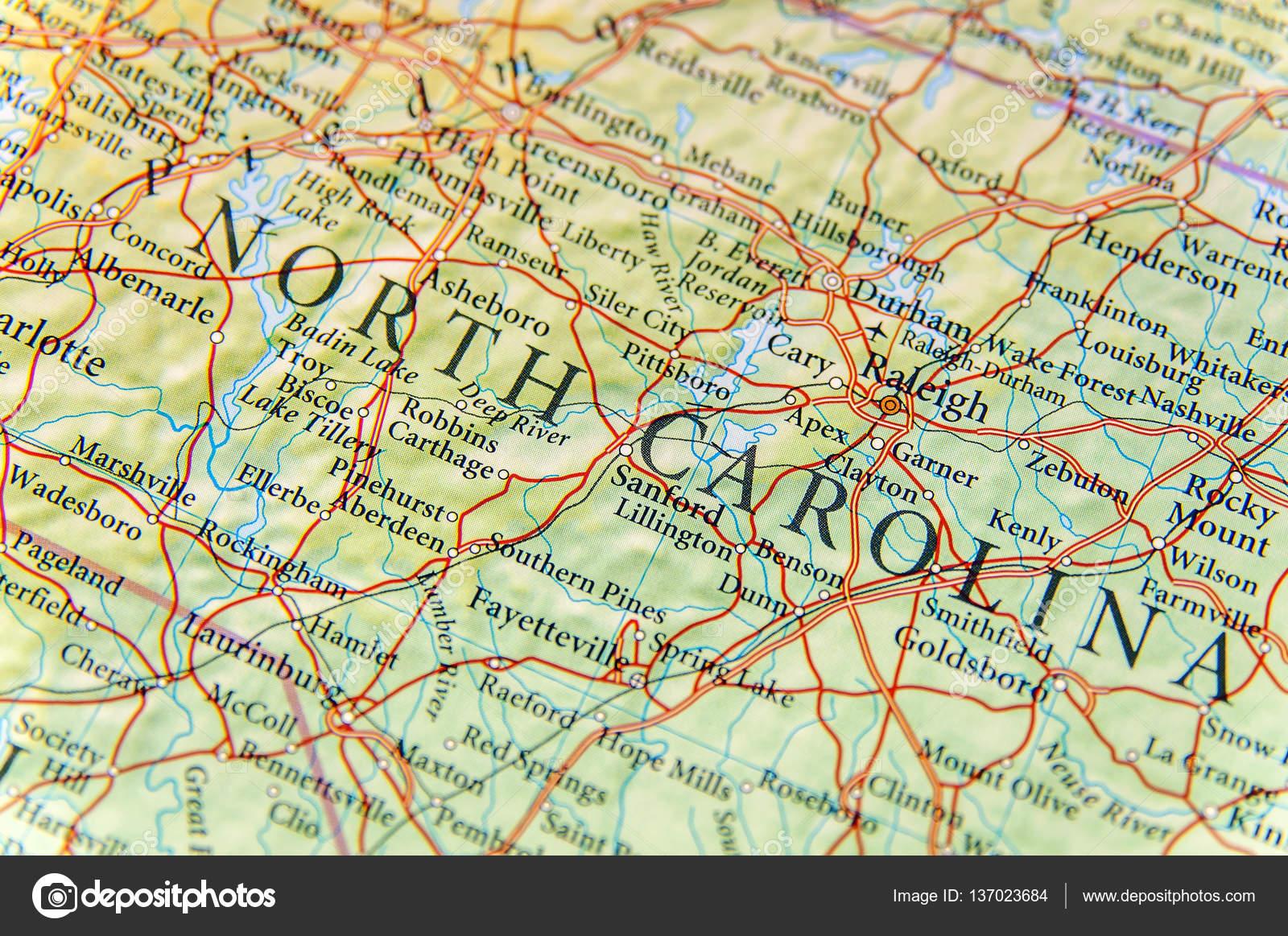 Geographische Karte von North Carolina zu schließen — Stockfoto ...