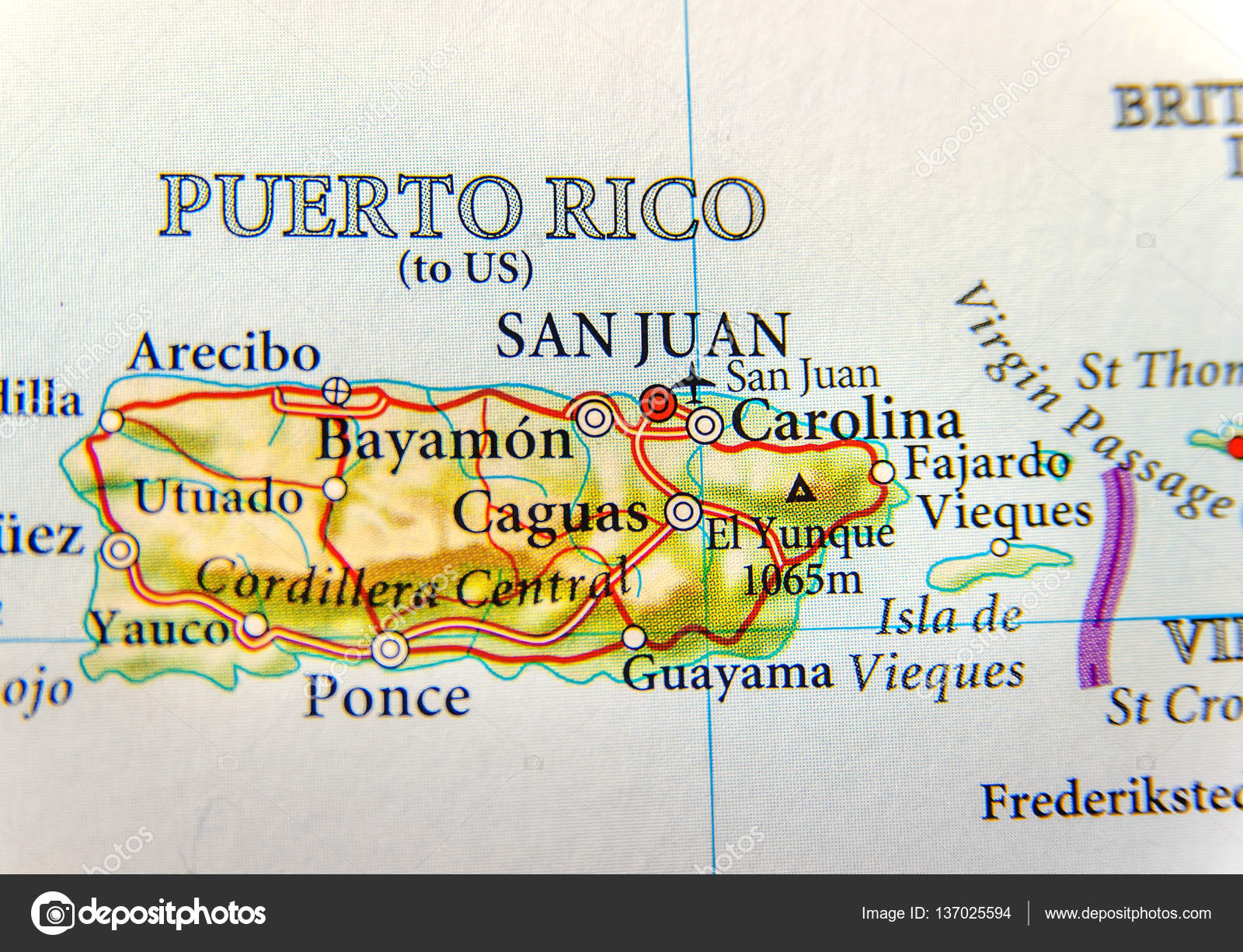 geographic map of puerto rico with capital san juan a united states territory in the