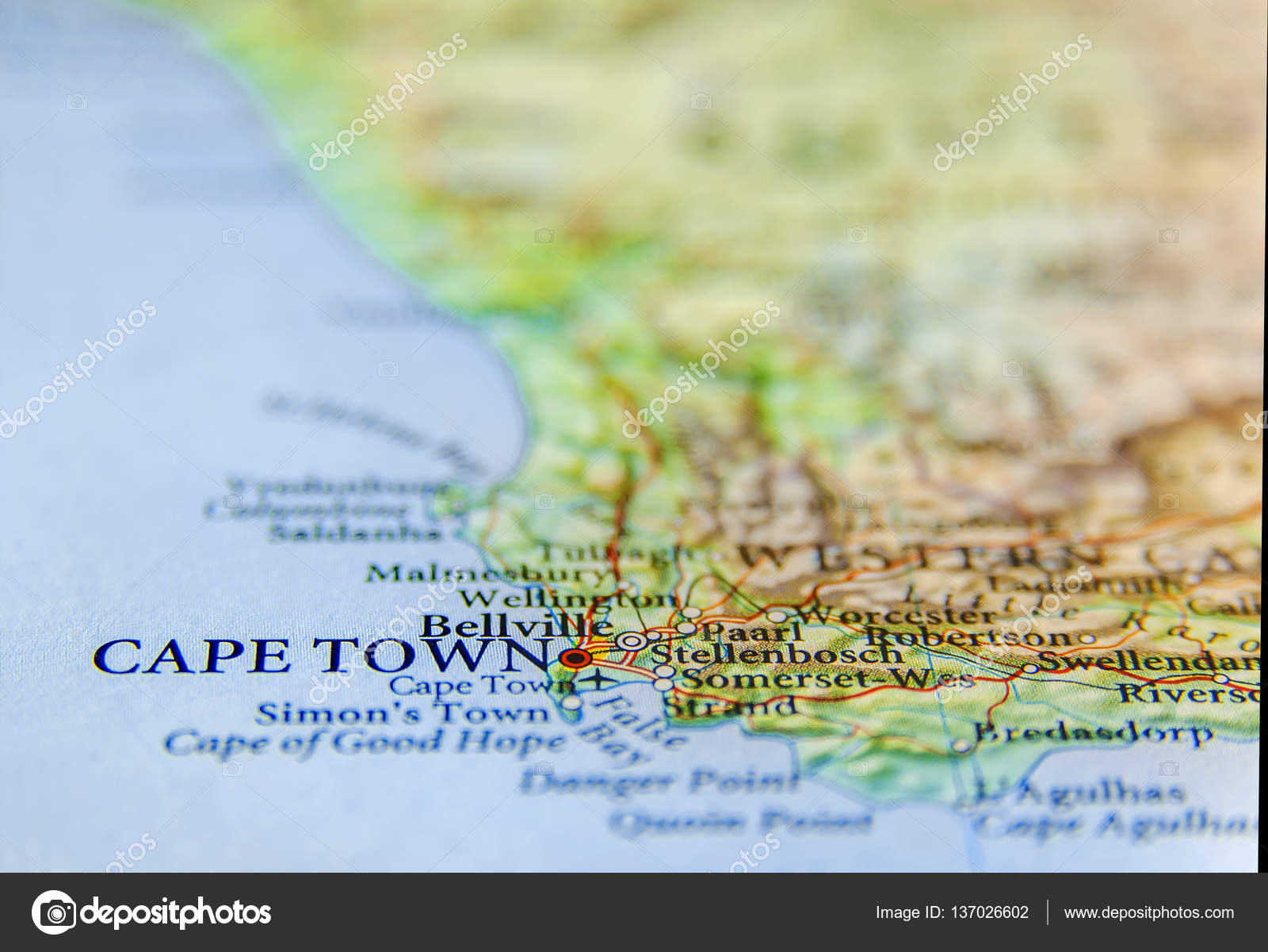 Geographic Map Of South Africa With Capital City Cape Town Stock