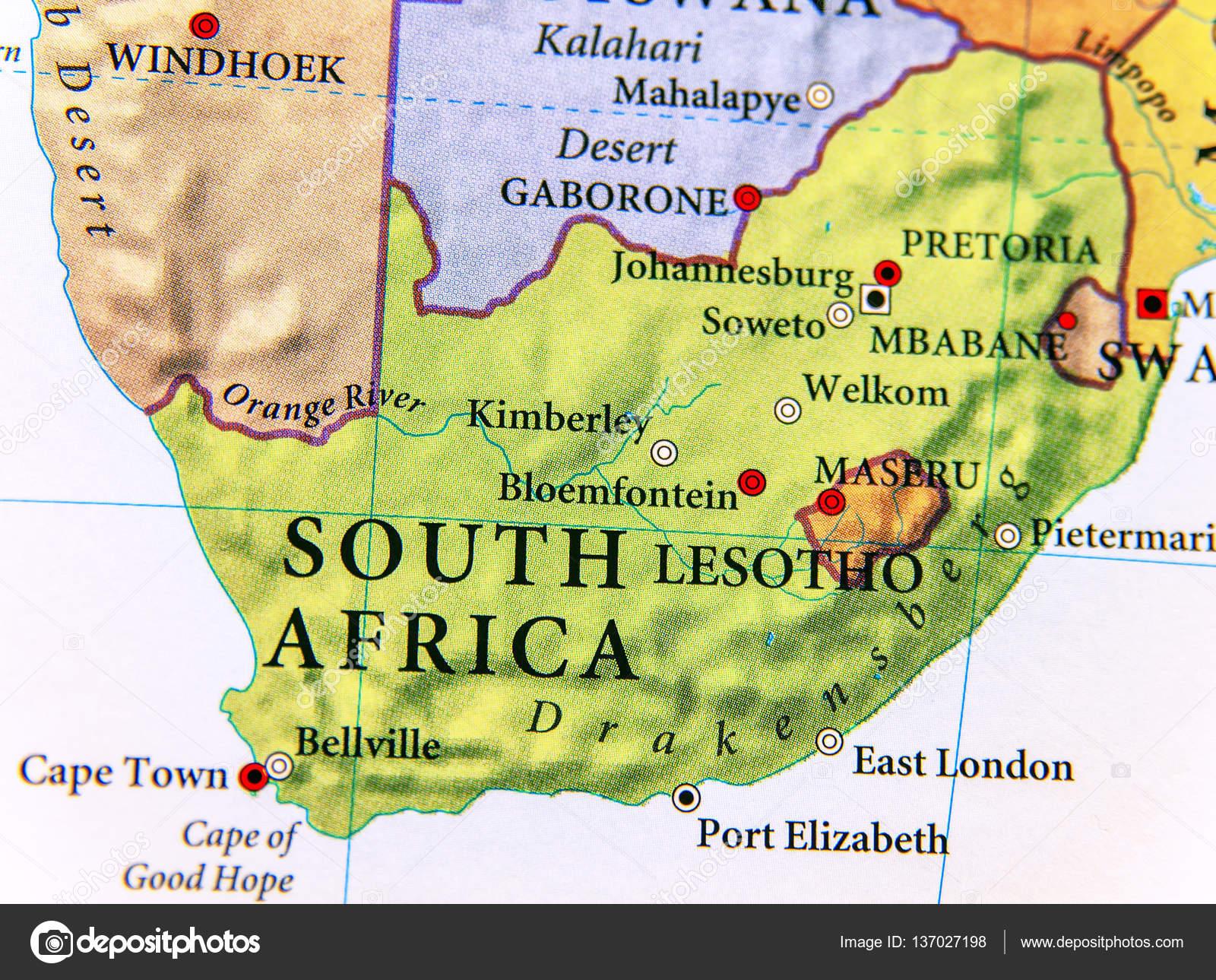 Cartina geografica del sudafrica con importanti citt for Piani di fattoria del sud