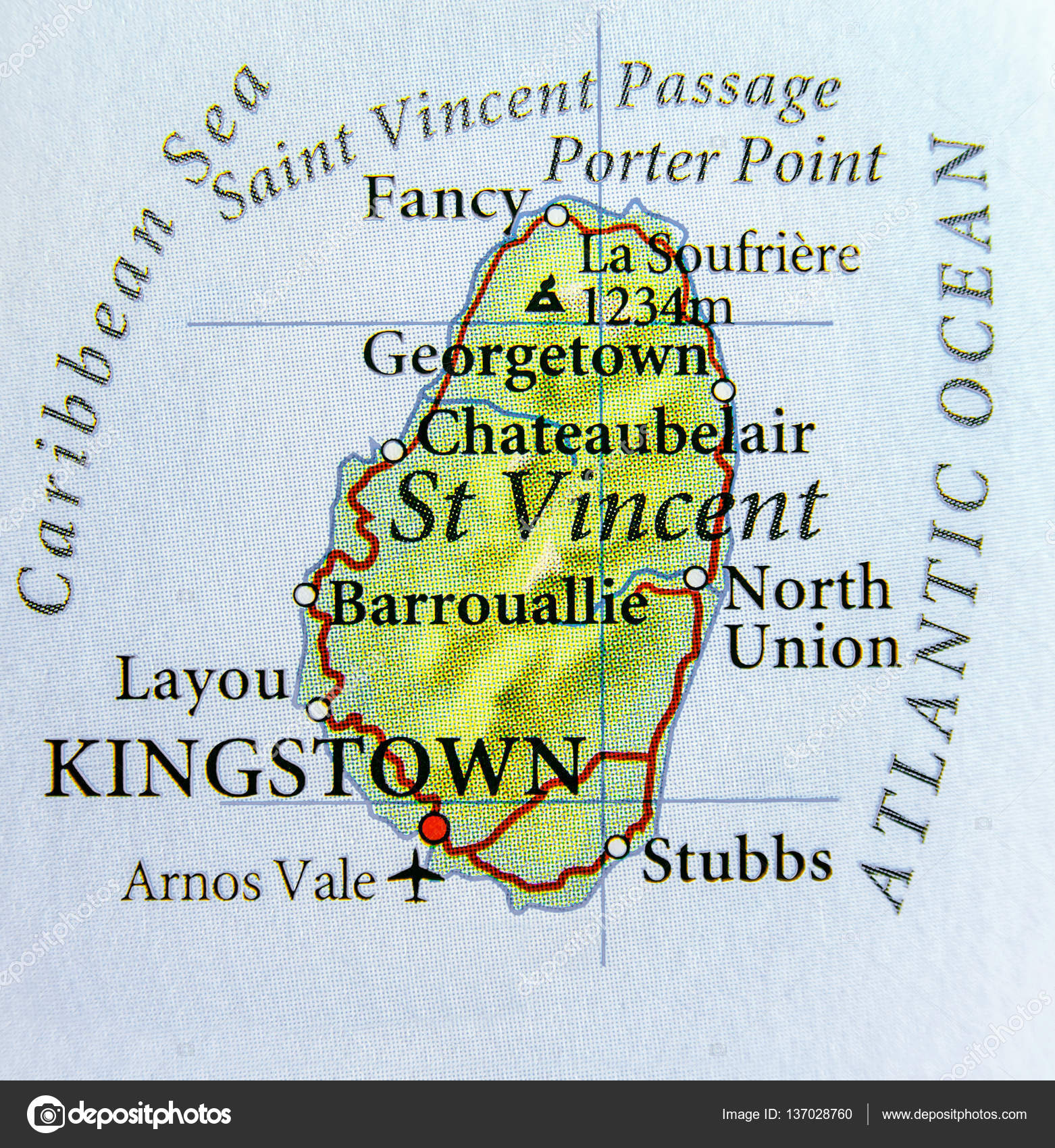 Geographic map of St Vincent country with important cities — Stock ...